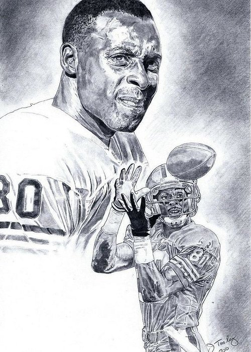 Jerry Rice Greeting Card featuring the drawing Jerry Rice by Jonathan Tooley