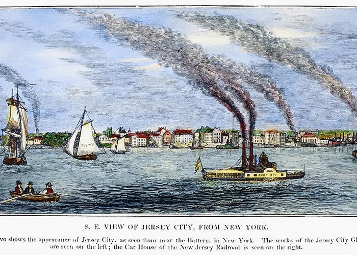 1844 Greeting Card featuring the painting Jersey City, 1844 by Granger