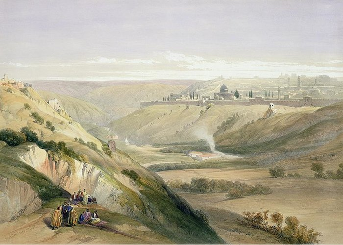 The Holy Land Greeting Card featuring the painting Jerusalem April 5th 1839 by David Roberts