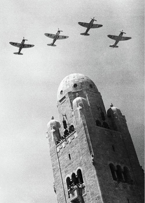 1930 Greeting Card featuring the photograph Jerusalem British Planes by Granger