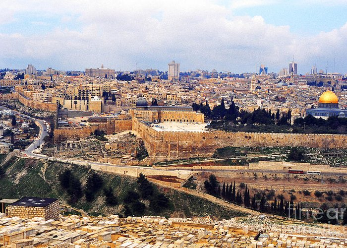 Israel Greeting Card featuring the photograph Jerusalem From Mount Olive by Thomas R Fletcher