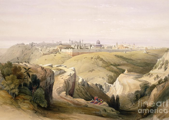 The Holy Land Greeting Card featuring the painting Jerusalem From The Mount Of Olives by David Roberts