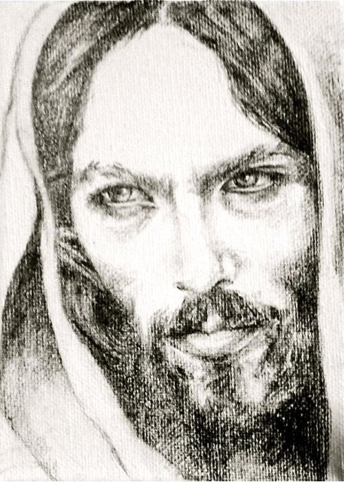 God Greeting Card featuring the drawing Jeseus by Ralph Lederman