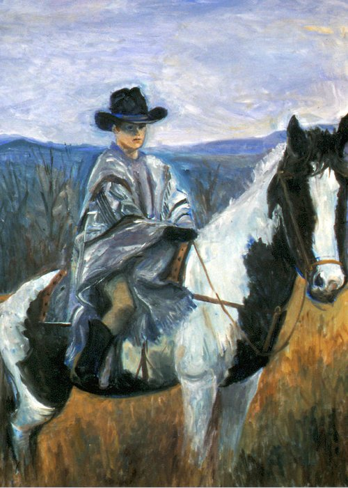 Boy On Horseback Greeting Card featuring the painting Jesse On Dakota by Ethel Vrana