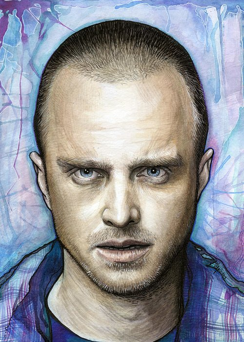 Breaking Bad Greeting Card featuring the painting Jesse Pinkman - Breaking Bad by Olga Shvartsur