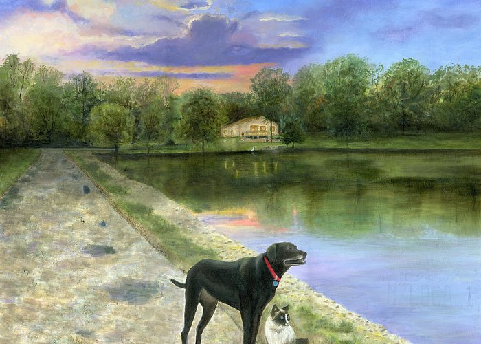 Jessica's Mystery Original Oil Painting Canvas Purple Blue Sky Clouds Sun Set Sunset Beautiful Cecilia Brendel Black Labrador Dog Lab Kitten Cat Portrait Home House Lake Front Thomas Kinkade Jessica's Mystery Trees Reflection Long Road Water Woods Green Gary Koen's Home Waterloo Illinios Thomas Kinkade Cecilia Brendel Greeting Card featuring the painting Jessica's Mystery by Cecilia Brendel