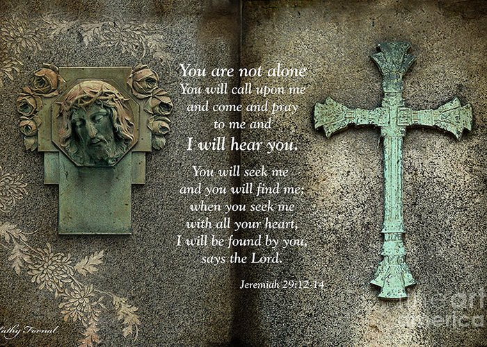 Bible Scripture Prints Greeting Card featuring the photograph Jesus And Cross - Inspirational - Bible Scripture by Kathy Fornal