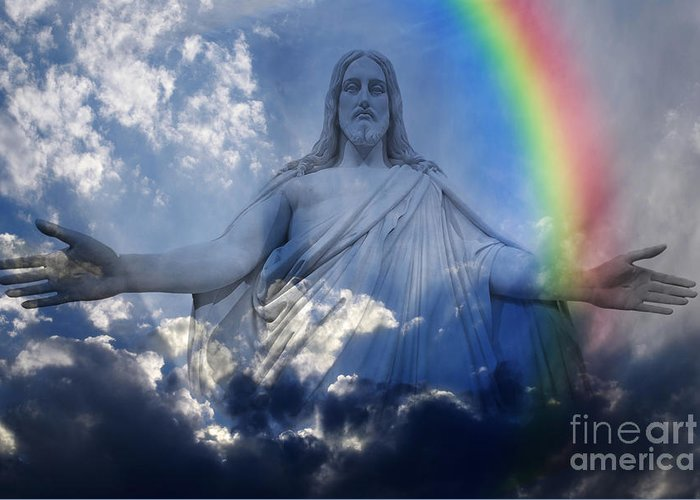 Bless Greeting Card featuring the photograph Jesus And Light With Rainbow by Lane Erickson