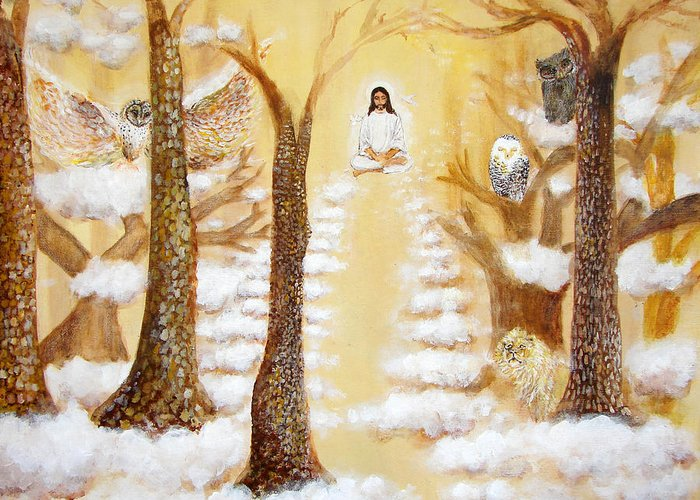 Christ Greeting Card featuring the painting Jesus Art - The Christ Childs Asleep by Ashleigh Dyan Bayer