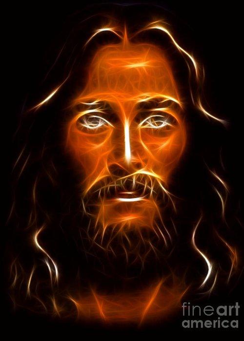 Jesus Greeting Card featuring the mixed media Brilliant Jesus Christ Portrait by Pamela Johnson