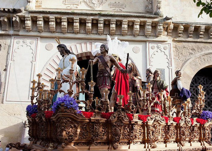 Cordoba Greeting Card featuring the photograph Jesus Christ And Roman Soldiers On Procession by Artur Bogacki