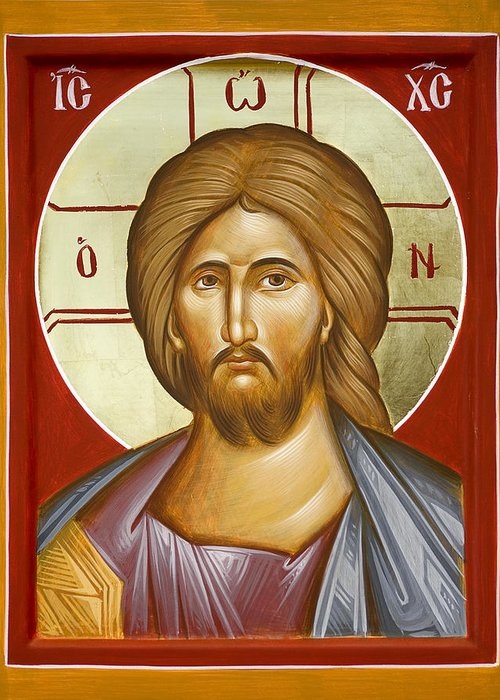Jesus Christ Greeting Card featuring the painting Jesus Christ by Julia Bridget Hayes
