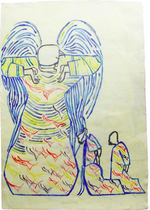 Jesus Greeting Card featuring the painting Jesus Guardian Angel by Gloria Ssali