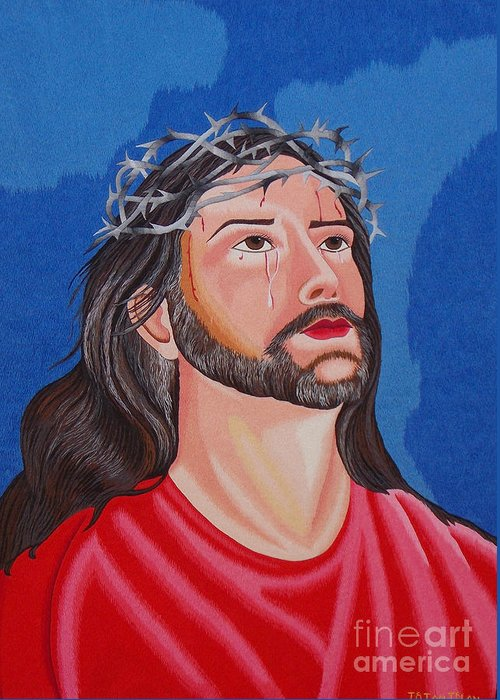 Jesus Greeting Card featuring the tapestry - textile Jesus Hand Embroidery by To-Tam Gerwe