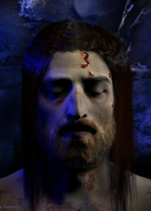 Jesus Greeting Card featuring the digital art Jesus In Death by Ray Downing