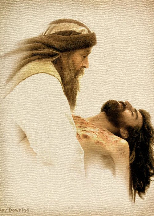 Jesus Greeting Card featuring the digital art Jesus Laid To Rest by Ray Downing