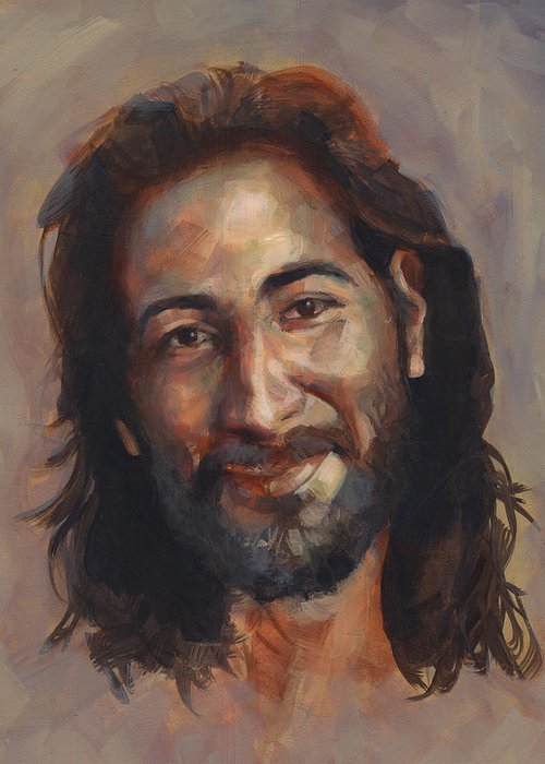 Happy Greeting Card featuring the painting Jesus Loves You by Kelly Whited