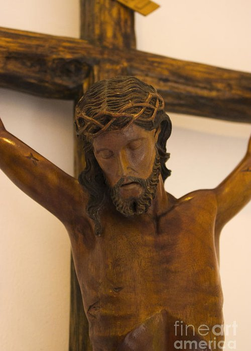 Jesus Greeting Card featuring the photograph Jesus On The Cross by Al Bourassa