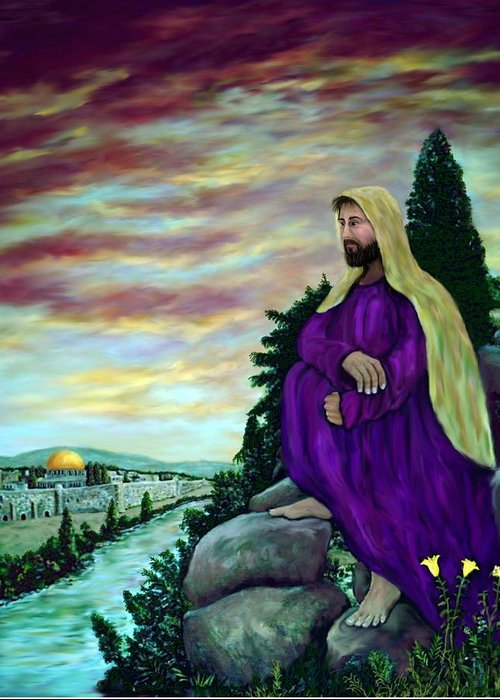 Jesus Greeting Card featuring the digital art Jesus Overlooking Jerusalem -1 by Ave Hurley