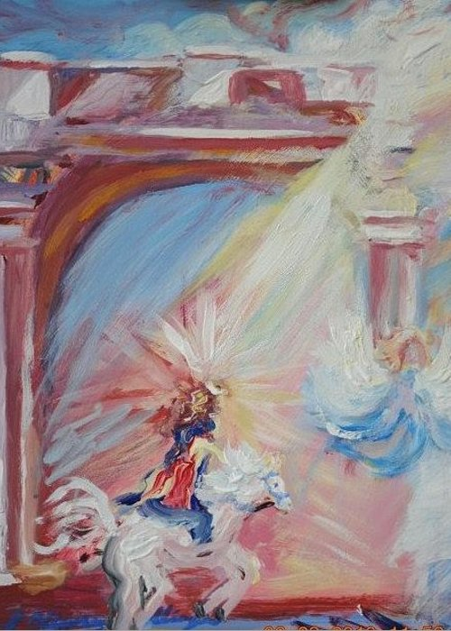 Jesus Greeting Card featuring the painting Jesus Riding Into Pula Croatia by Patricia Kimsey Bollinger