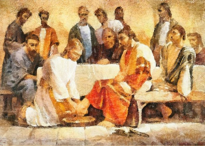 Jesus Washing Apostle's Feet Greeting Card featuring the painting Jesus Washing Apostle's Feet by Dan Sproul