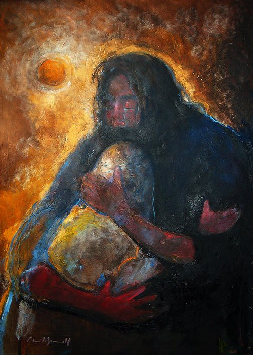 Spiritual Art Greeting Card featuring the painting Jesus Wept by Daniel Bonnell