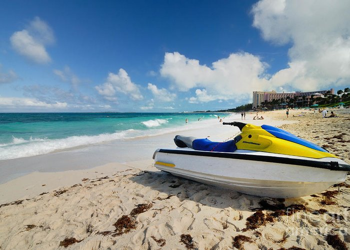 Atlantic Ocean Greeting Card featuring the photograph Jet Ski On The Beach At Atlantis Resort by Amy Cicconi
