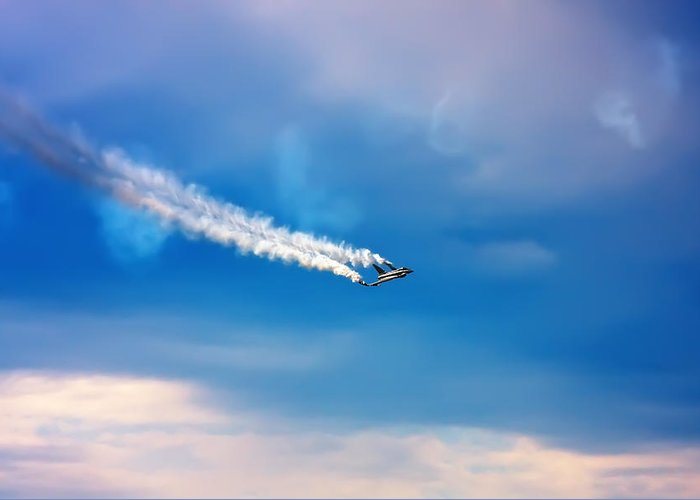 Acrobatic Greeting Card featuring the photograph Jetfighter With Smoke Trail. by Jan Brons