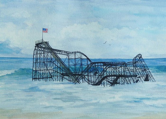Roller Coaster Greeting Card featuring the painting Jetstar by Anita Riemen
