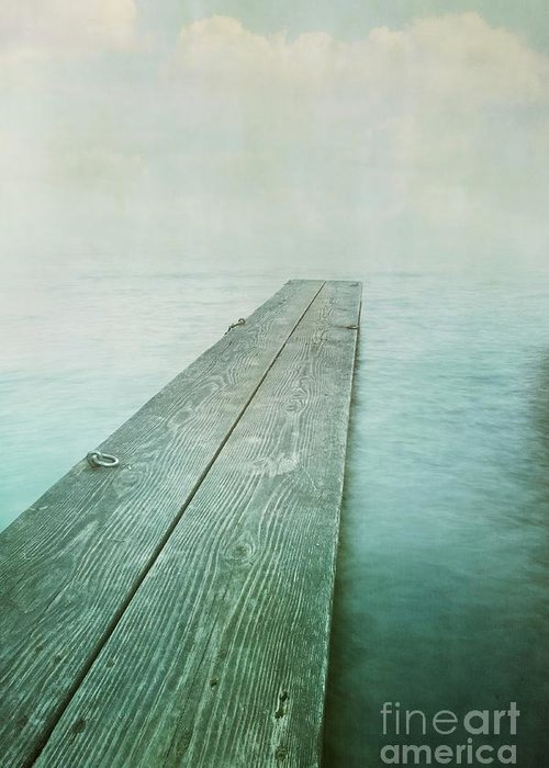 Photomanipulation Greeting Card featuring the photograph Jetty by Priska Wettstein