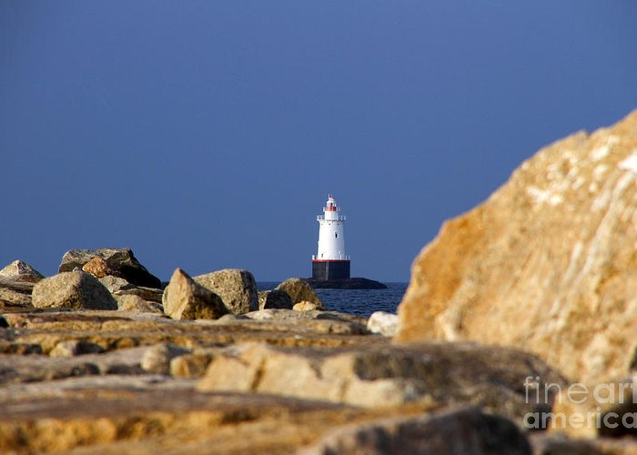 Sakonnet Pt. Sakonnet Point Greeting Card featuring the photograph Jetty View Sakonnet Pt. Light II by Butch Lombardi