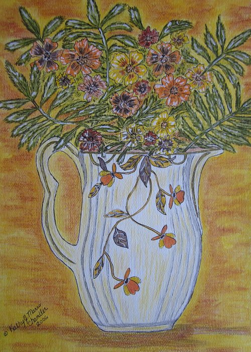 Jewel Tea Greeting Card featuring the painting Jewel Tea Pitcher With Marigolds by Kathy Marrs Chandler
