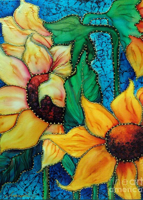 Silk Painting Greeting Card featuring the painting Jeweled Sassy Sunflowers by Francine Dufour Jones