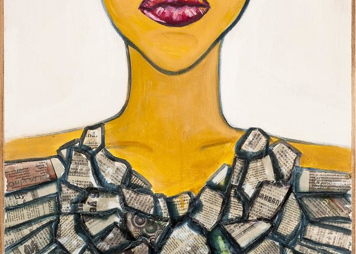 Fashion Greeting Card featuring the painting Jewelry- Necklace by Claire Sun