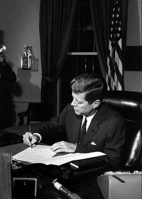 Jfk Greeting Card featuring the photograph Jfk Signing The Cuba Quarantine by War Is Hell Store
