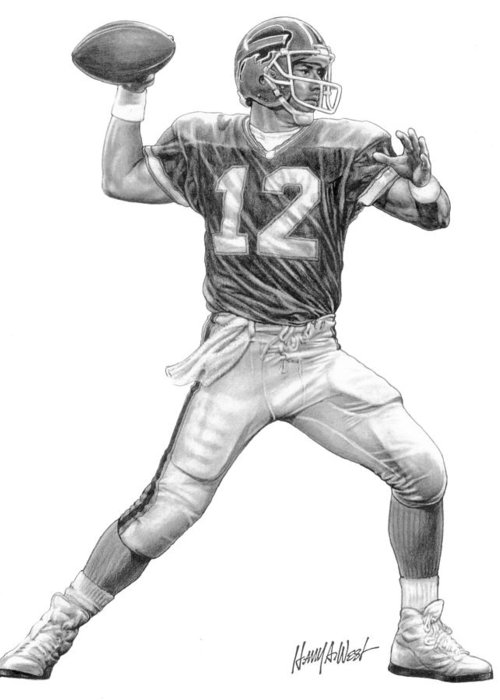 Jim Kelley Greeting Card featuring the drawing Jim Kelly by Harry West