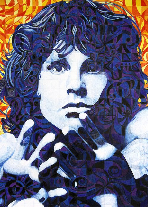 Jim Morrison Greeting Card featuring the drawing Jim Morrison Chuck Close Style by Joshua Morton