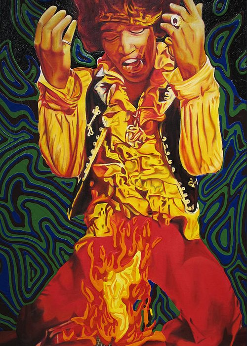 Jimi Hendrix Greeting Card featuring the painting Jimi Hendrix Fire by Joshua Morton