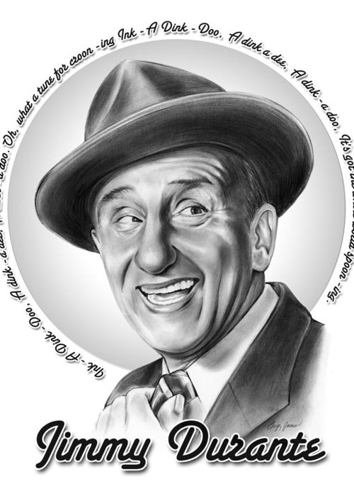 Jimmy Durante Greeting Card featuring the mixed media Jimmy Durante by Greg Joens