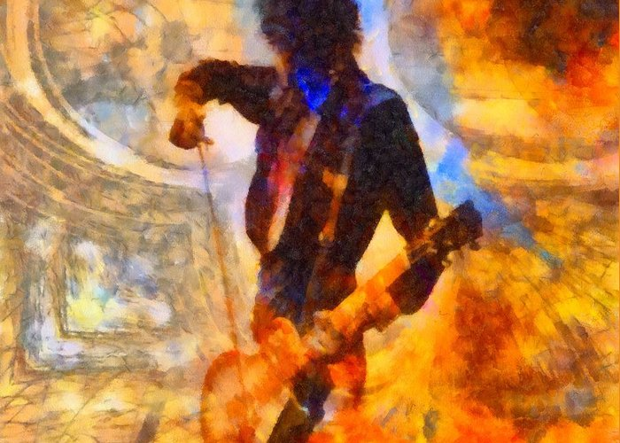 Jimmy Page Greeting Card featuring the painting Jimmy Page Playing Guitar With Bow by Dan Sproul