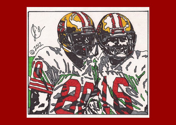San Francisco 49ers Drawings Greeting Card featuring the drawing Joe Montana And Jerry Rice by Jeremiah Colley