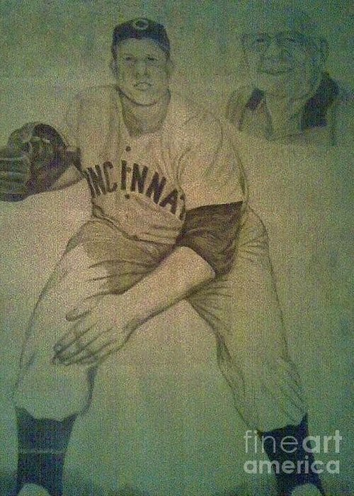 Joe Nuxhall Greeting Card featuring the drawing Joe Nuxhall by Christy Saunders Church