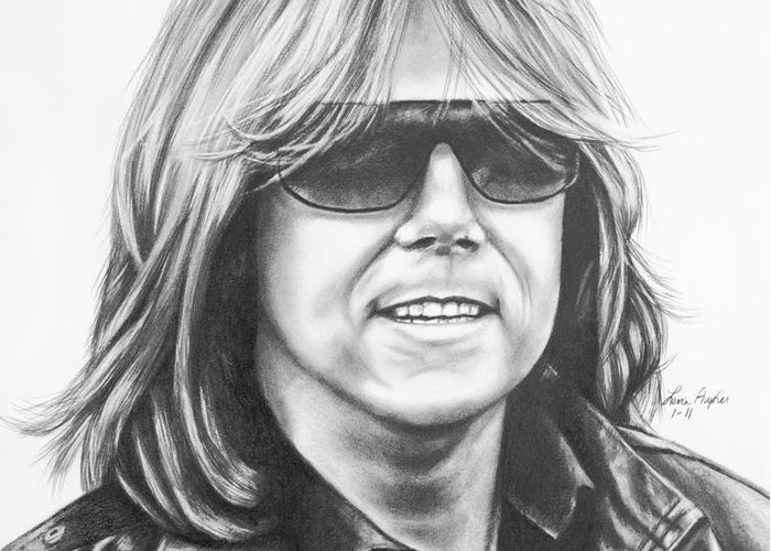 Drawing Pencil Graphite Joey Tempest Singer Band Europe Shades Sunglasses Rock Music Greeting Card featuring the drawing Joey Tempest by Lena Auxier