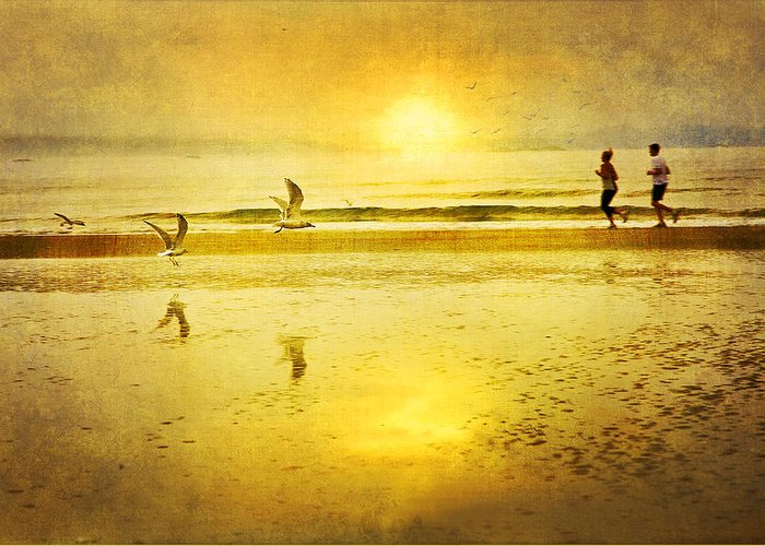 Beach Greeting Card featuring the photograph Jogging On Beach With Gulls by Theresa Tahara