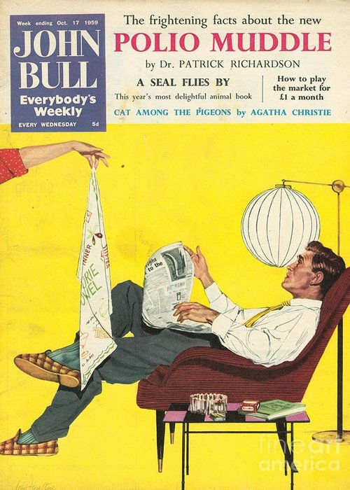 1950�s Greeting Card featuring the drawing John Bull 1950s Uk Dish Washing by The Advertising Archives