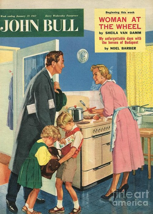 1950�s Greeting Card featuring the drawing John Bull 1957 1950s Uk Cooking by The Advertising Archives