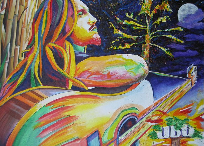 John Butler Trio Greeting Card featuring the painting John Butler And Moon by Joshua Morton