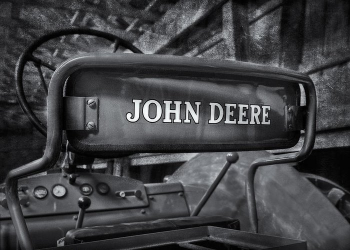 Diesel Greeting Card featuring the photograph John Deere Tractor Bw by Susan Candelario