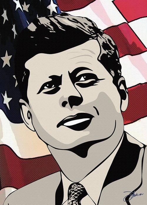 Ignacio Greeting Card featuring the drawing John F. Kennedy 1st Irish Catholic President by Dancin Artworks
