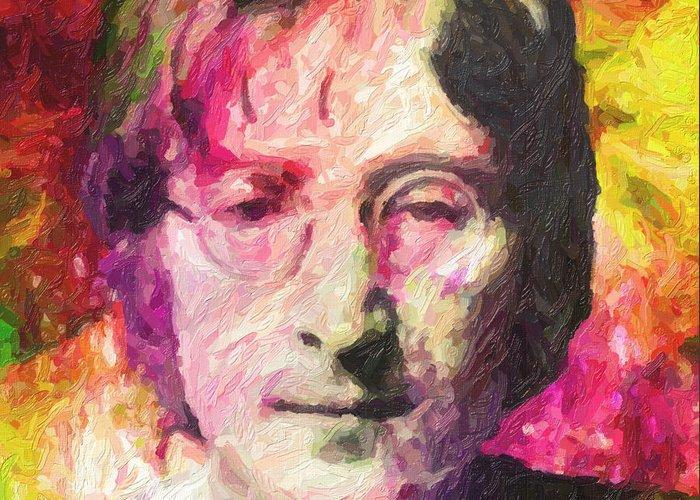 John Lennon Greeting Card featuring the painting John Lennon by Zapista OU